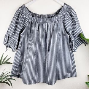 Cha Cha Vente | Off Shoulder Striped Relaxed Top L